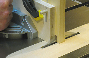 Box joint jig - making a test cut.