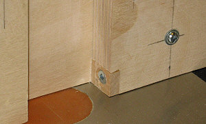 Box joint jig - the index pin              is screwed to the spacer block.