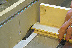 Building cabinet doors - Cutting the first cheek of the tenon.