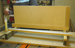 Building cabinet doors - glue is applied to the tenons.