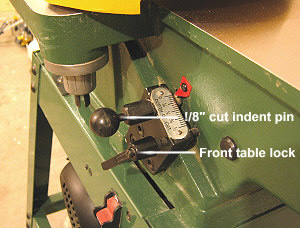 Craftex CT086 infeed table controls.