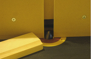 Drawer fronts - A test piece is cut to the desired shape.