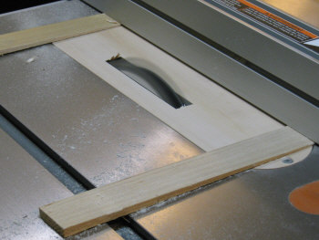 Table saw inserts - cutting through the insert with the dado blade.
