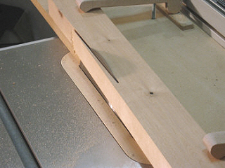 Table saw jointing jig - cutting a taper on a birch table leg.