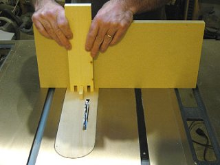Box joint - Using              a box joint jig to make accurate joints on the table saw.