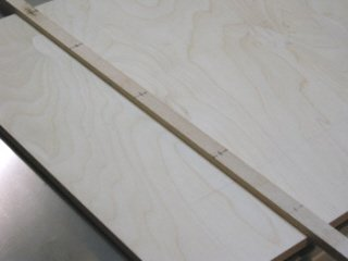 Crosscut sled - Lines are drawn on the runner to mark the location for screws.