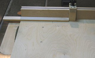 Crosscut sled - getting set to make a cut.