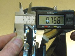 Dado blade - measuring across the tips of the outside blades.