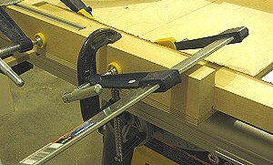 Dado jig - the rear fence is clamped in line with the fence of the crosscut sled.