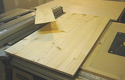 Resawing lumber - three thinner boards cut from one thicker board.
