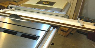 Table saw jointing jig - adjust the fence so the jig is almost against the blade.