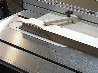 Table saw jointing jig - jointing a length of yellow cedar.