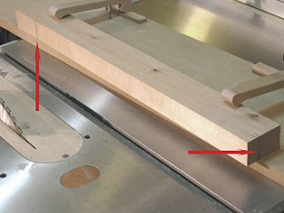 Table saw jointing jig - setting up for a taper cut.